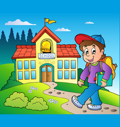 Theme with boy and school building vector