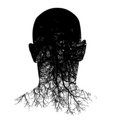 This silouette of a mans head morphs into roots vector