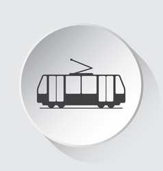 Tram streetcar - simple gray icon on white button vector
