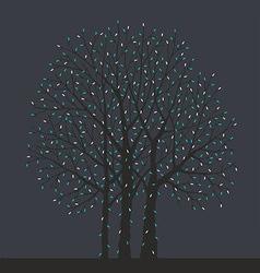 tree with Christmas light bulbs vector image