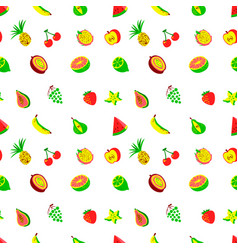 tropical exotic fruits seamless pattern cute vector image