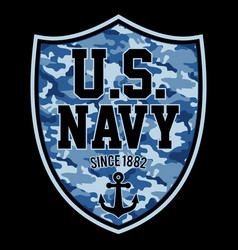 us navy since 1882 shield vector image