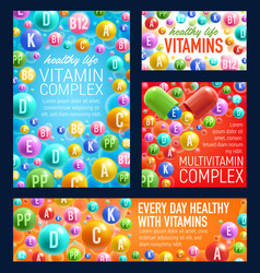 vitamins and minerals pills vector image