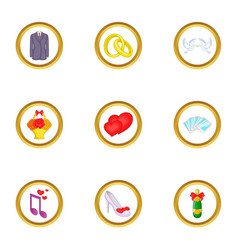 Wedding things icons set cartoon style vector