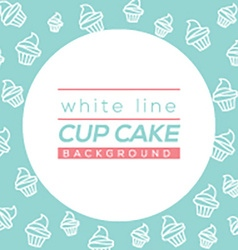 White Line Cup Cake Background vector