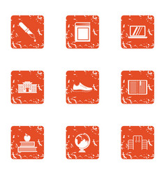 Whole school icons set grunge style vector