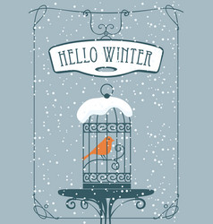 Winter banner with red bird in the cage vector