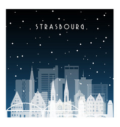 Winter night in strasbourg night city vector
