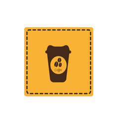 yellow emblem coffee espresso icon vector image