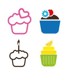 A set of colored cakes vector image vector image