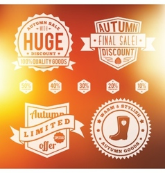 Autumn Sale Vintage Badges Set With Abstract vector image