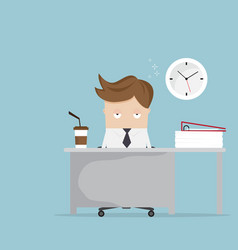 businessman falling asleep at desk in office vector image