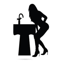girl beauty silhouette with sink vector image