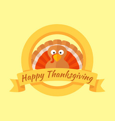 happy thanksgiving day card with cartoon of turkey vector image vector image