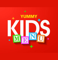 kids menu bright cover template vector image vector image