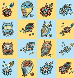 patchwork background with owls and flowers vector image vector image