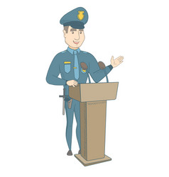 young policeman giving a speech from the tribune vector image vector image