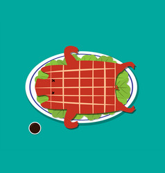 barbecued suckling pig in flat style vector image