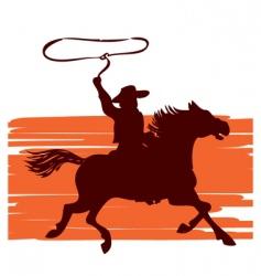 cowboy on horseback vector image vector image