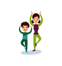 mom doing yoga with her son mother and son doing vector image