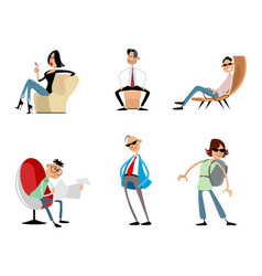 six funny trendy characters vector image