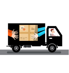 Delivery service van car with parcel and driver vector