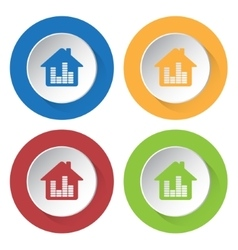 set of four icons - house with equalizer vector image vector image