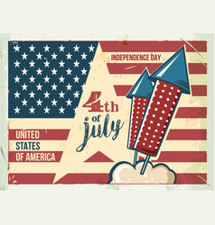 4th of july poster grunge retro metal sign with vector image vector image