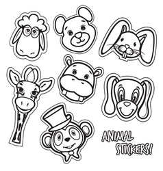 animal stickers2 resize vector image