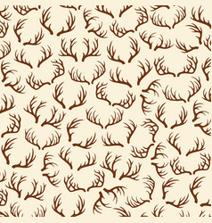 background pattern with deer horns vector image