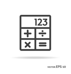 calculator outline icon black color vector image vector image