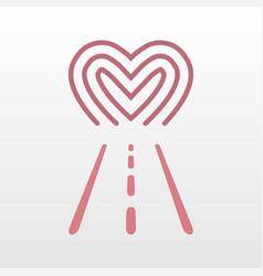 road way to heart logo icon vector image