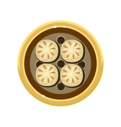Tasty homemade pie decorated with cookies served vector