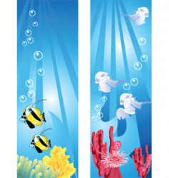 tropical coral fish and jellyfish vector image vector image