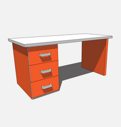3d image - orange white desk with three drawers vector