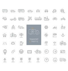 50 transportation traffic and vehicles thin line vector