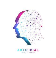 artificial intelligence logo banner neural network vector image