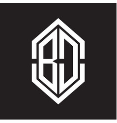 bd logo monogram with hexagon shape and outline vector image