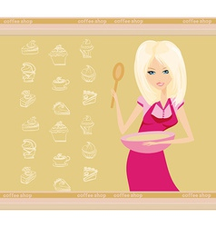 Beautiful lady cooking dessert vector image