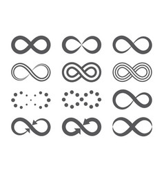 black infinity symbols repetition icons and signs vector image