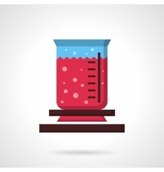 Burner flask with pink solution flat icon vector