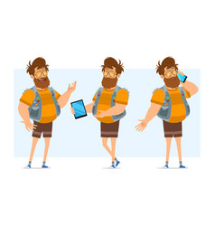 cartoon flat fat hipster man character set vector image