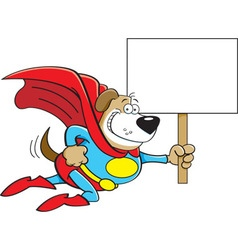 Cartoon Superhero Dog with a Sign vector