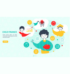 child finance guide landing page template vector image