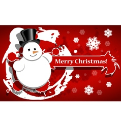 Christmas background with a snowman vector