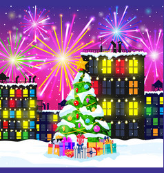christmas card with urban landscape and fireworks vector image