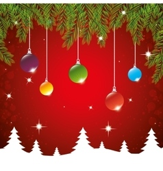 christmas hanging balls landscape red background vector image