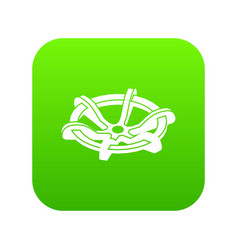 Circle tap gas icon green vector