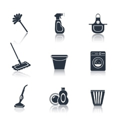 Cleaning icon set black vector image