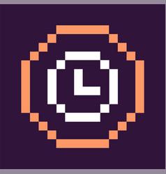 clock denoting time pixel icon retro game vector image